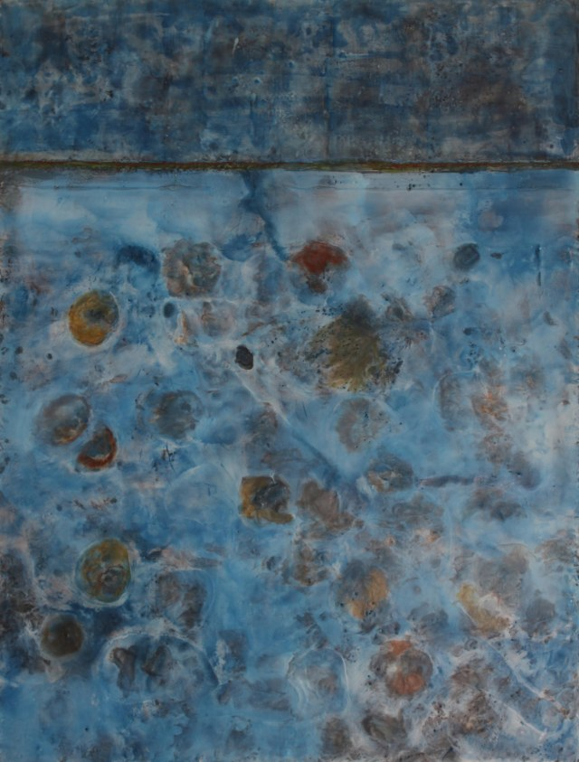 """Origins""  Encaustic on Cradled Wood Panel 42 x 32 inches"