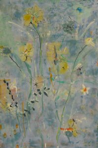 "'Sun Drops"" 36 x 24 x 2 inches Encaustic on cradled panel"
